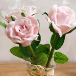 Twin Rose Soft Plastic Yapay Çiçek 5,5x5,5x18 Cm Pembe