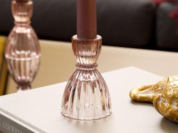 Rosa Stripe Soda Glass Şamdan 6x6x9 Cm Açık Pembe