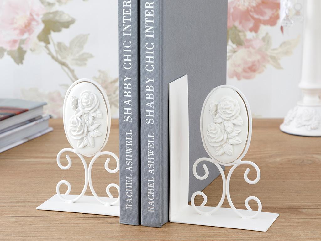 Majestic Rose Ferforje Kitap Tutucu 6x10,5x15 Cm Beyaz