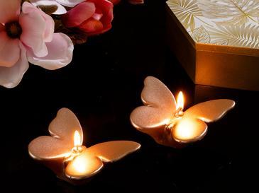 Butterflies Parafin 2'li Mum 7x5x1,5 Cm Rose Gold