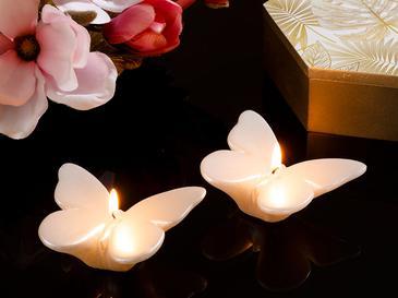 Butterflies Parafin 2'li Mum 8,2x 6 X 2cm Gümüş