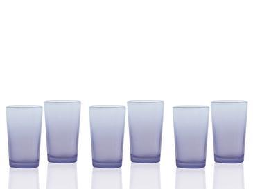 Degetto Cam 6'lı Kahve Yanı Su Bardağı 100 Ml Mor-mavi