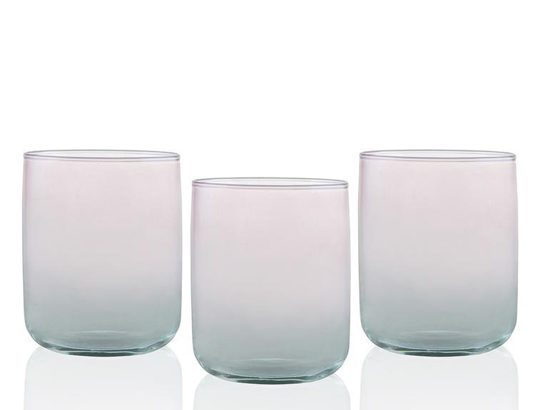 Degetto Cam 3'lü Meşrubat Bardağı 270 Ml Yeşil-Pembe