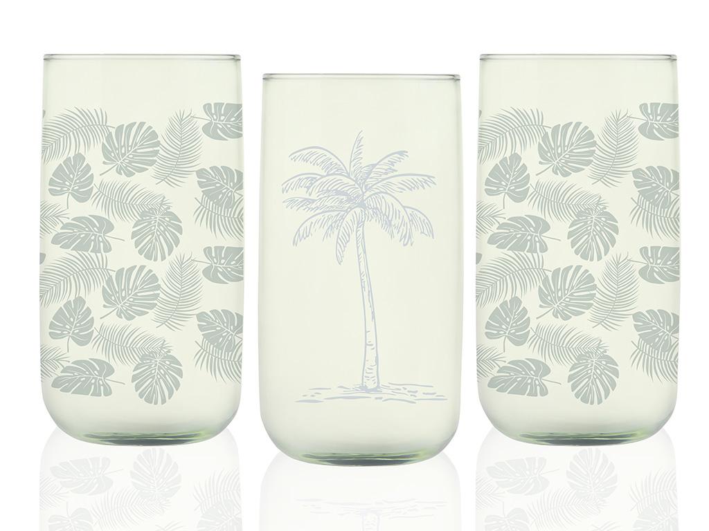 Palm Cam 3'lü Meşrubat Bardağı 365 Ml Yeşil
