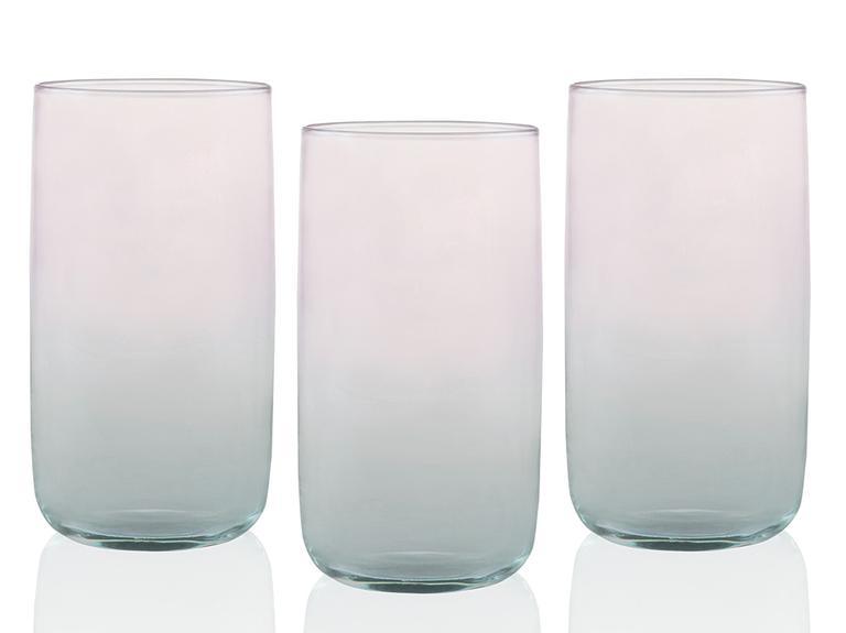 Degetto Cam 3'lü Meşrubat Bardağı 365 Ml Yeşil-Pembe