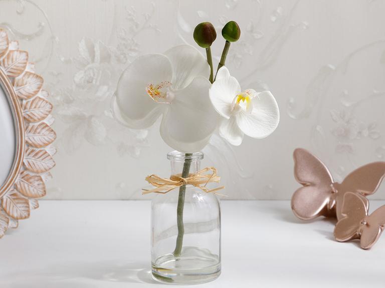 Alya Soft Plastic Vazolu Yapay Çiçek 5,2X5,2X21Cm Beyaz