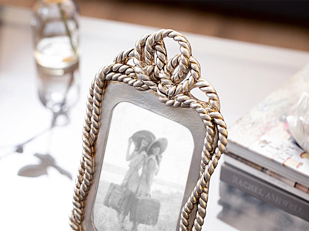 Vintage Chain Çerçeve 15,4x25x2,2 Cm Gümüş
