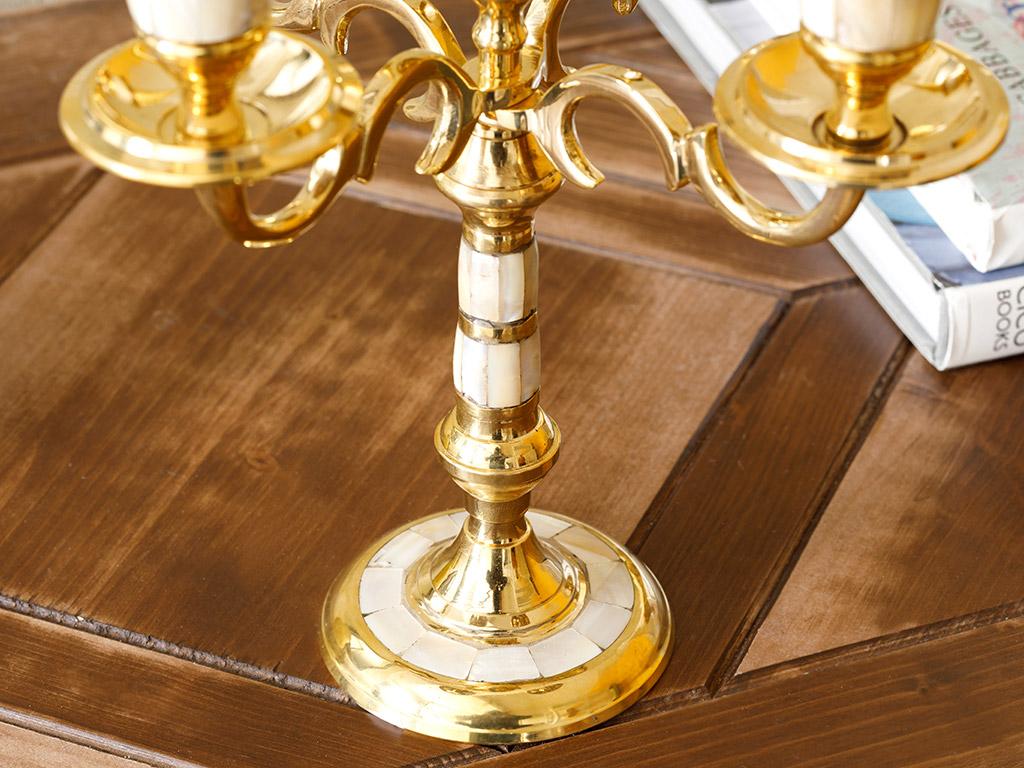 Elegance 5 Kafalı Şamdan 8x8x23 Cm Gold