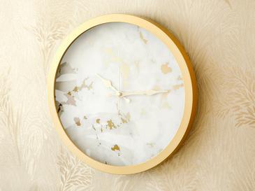 Fancy Marble Cam Plastik Duvar Saati 30 Cm Beyaz- Altın