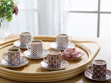 Danny Porselen 12 Parça Kahve Fincan Takımı 80 Ml Bordo