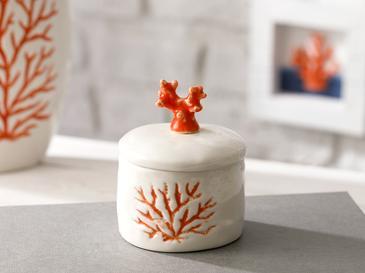 Living Corals Porselen Dekoratif Kutu 7,5x7,5x9,5 Cm Turuncu