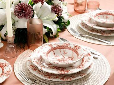 Roseanne Porselen 24 Parça Yemek Takımı 17Cm-24Cm-26Cm-20Cm Kırmızı