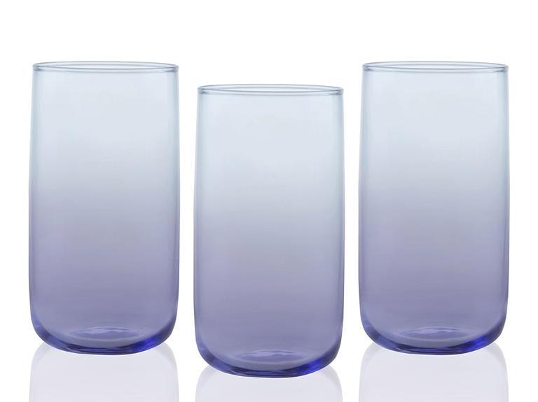 Degetto Cam 3'lü Meşrubat Bardağı 365 Ml Mor-Mavi