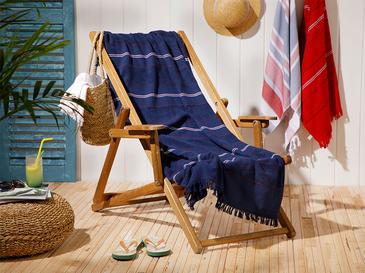 Seaside Pes Çizgili Plaj Havlusu 70X150 Cm Lacivert