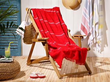 Seaside Pes Çizgili Plaj Havlusu 70X150 Cm Kırmızı