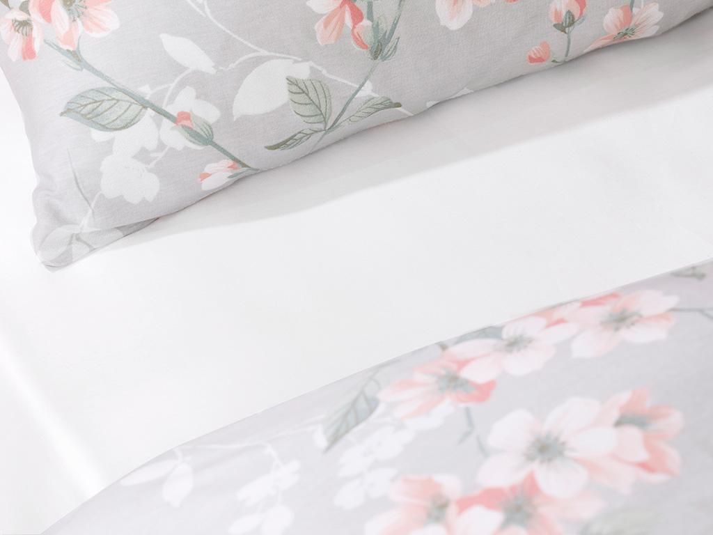 Sakura Zen Pamuk Çift Kişilik Nevresim Takımı 200x220 Cm Gri