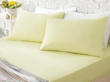 Düz Pamuk Çift Kişilik Lastıklı Çarşaf Takımı 160x200 Cm Limon Sarı