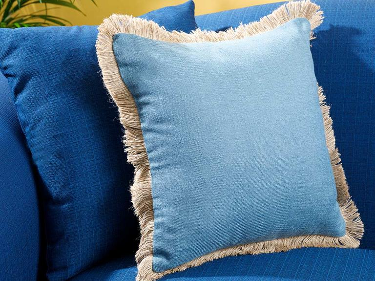 Shabby Chic Keten Kırlent Kılıfı 45x45 Cm Mavi