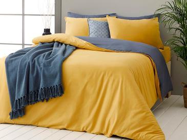 Plain Pamuk Tek Kişilik Nevresim Takımı 160x220 Cm Sarı-lacivert