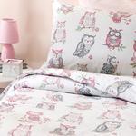 Sweet Owl Pamuklu Çocuk Nevresim Takımı 160x220 Cm Pembe