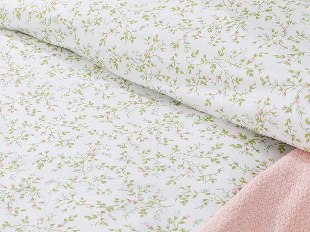 Rosebella Pamuklu Çift Kişilik Nevresim 200x220 Cm Yeşil