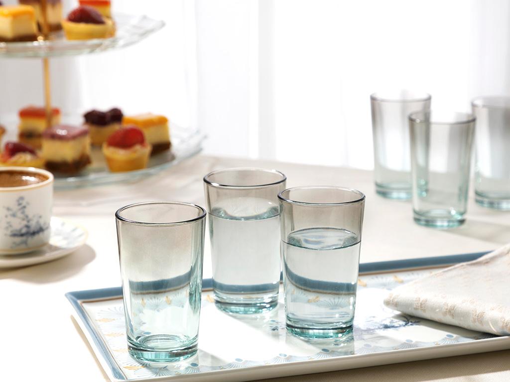 Degetto Cam 6'Lı Kahve Yanı Su Bardağı 100 Ml Yeşil-Kahve