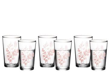 Roses Cam 6'lı Kahve Yanı Su Bardağı 100 Ml Pembe