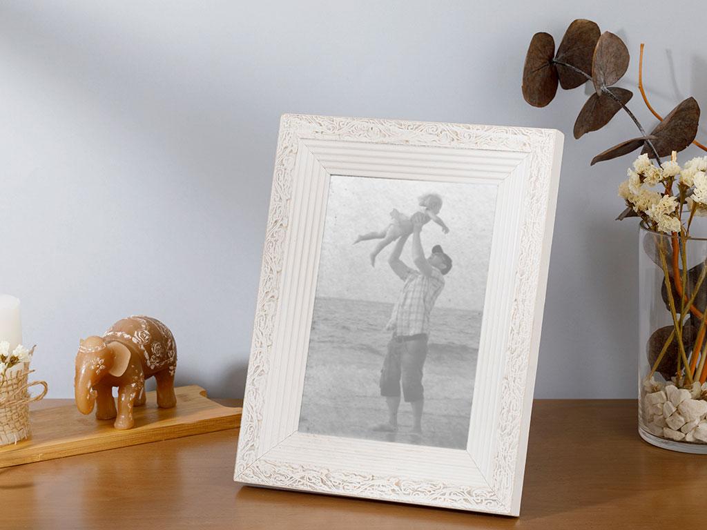 Rustic Çerçeve 13x18 Cm Eskitme Beyaz