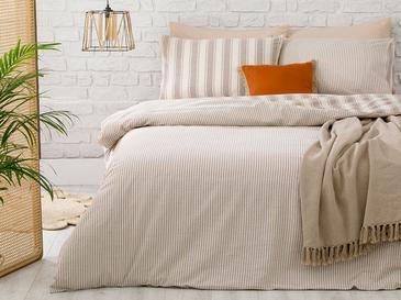 Pure Cotton İpliği Boyalı Pamuklu King Size Nevresim Takımı 240x220 Cm Bej