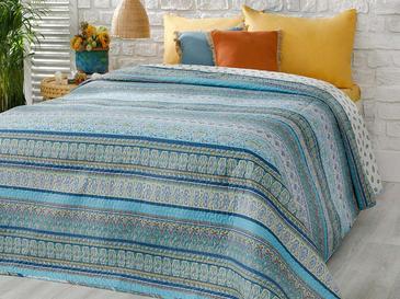 Giles Tek Kişilik Çok Amaçlı Yatak Örtüsü 160x220 Cm Mavi
