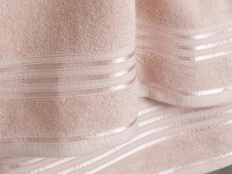 Romantic Stripe Floşlu Banyo Havlusu Takımı 50x85cm + 70x150cm Nude