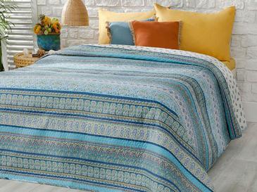 Giles Çift Kişilik Çok Amaçlı Yatak Örtüsü 200x220 Cm Mavi