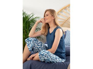 Batik Viskon Bayan Kapri Pijama Takımı S Lacivert