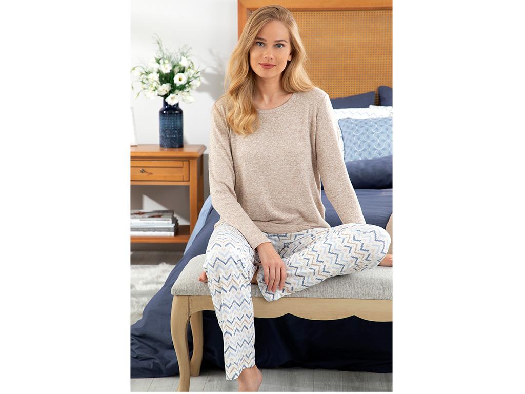 Pure Ikat Viskon Bayan Pijama Takımı S Bej