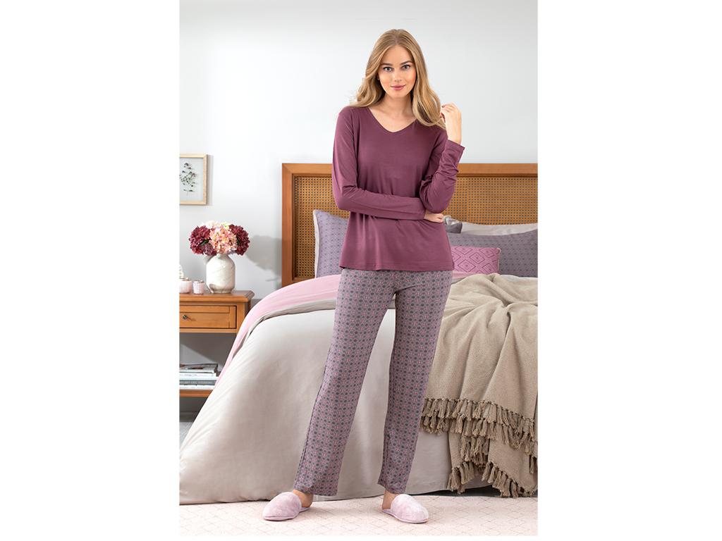 Retro Viskon Bayan Pijama Takımı L Mürdüm
