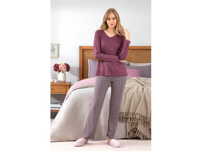Retro Viskon Bayan Pijama Takımı M Mürdüm