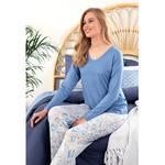 Paisley Charm Viskon Bayan Pijama Takımı S Mavi