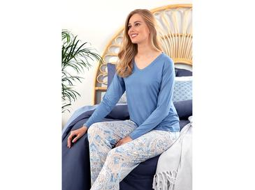 Paisley Charm Viskon Bayan Pijama Takımı M Mavi