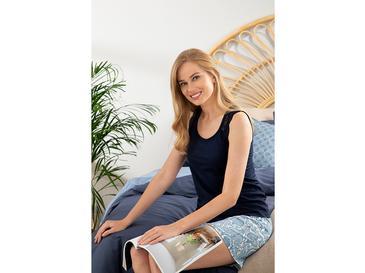 Lace Stripes Full Lyc Süprem- Pamuk Elastan Şort Pijama Takımı L-xl Lacivert
