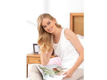 Düz Pamuklu Bayan Pijama Üst S Beyaz