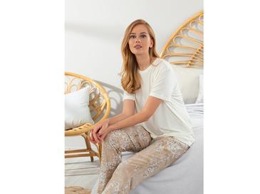 New Diamond Viskon Bayan Pijama Takımı M Bej