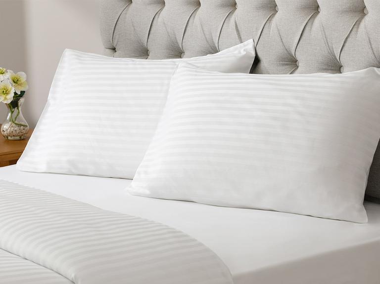 White Collection Saten Çizgili Tek kişilik Nevresim Takımı 160x220 Cm Beyaz