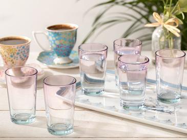 Degetto Cam 6'lı Kahve Yanı Su Bardağı 100 Ml Yeşil-Pembe