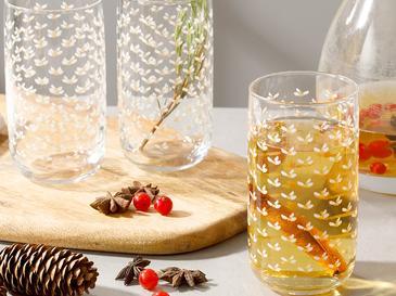 Kokina Cam 3'lü Meşrubat Bardağı 365 Ml Gold