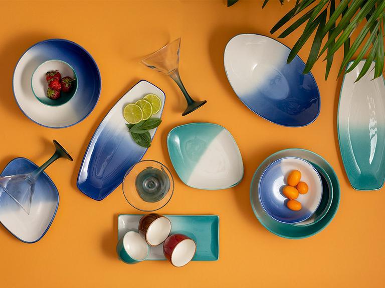 Maura Porselen Kayık Tabak 25x15 Cm Beyaz - Mavi