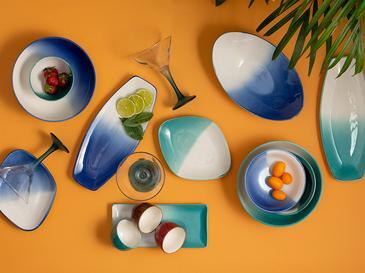 Pear Porselen Kayık Tabak 28x17 Cm Beyaz - Mavi
