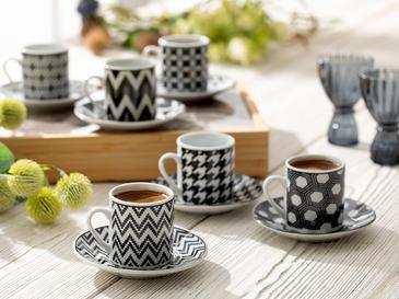 Rony Porselen 12 Parça Kahve Fincan Takımı 80 Ml Siyah