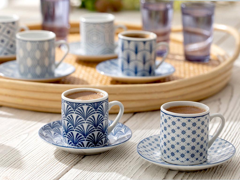 Solita Porselen 6'Lı Kahve Fıncan Takımı 80 Ml Mavi