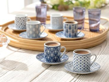 Solita Porselen 12 Parça Kahve Fincan Takımı 80 Ml Mavi