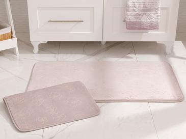 Floral Sıcak Baskı Kaydırmaz Taban Banyo Paspası Seti 60x100 Cm + 60x50 Cm Lila